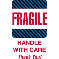 4'' x 6'' - ''Fragile - Handle With Care'' Labels - 500 per roll