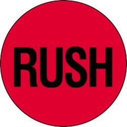 2'' x 2'' - ''Rush '' (Fluorescent Red) Labels - 500 per roll