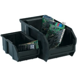 5 1/2x10 7/8x5'' Black Conductive Bins 12ct