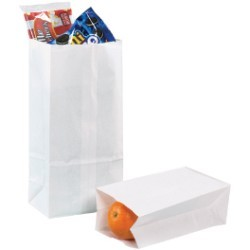 12 3/8'' x 6 1/8'' x 4'' White  Grocery Bags - case of 500