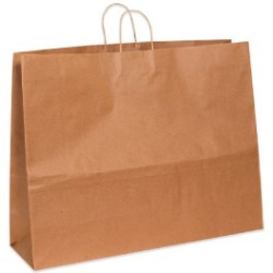 24'' x 7 1/4'' x 18 3/4'' Kraft  Paper Shopping Bags - case of 125