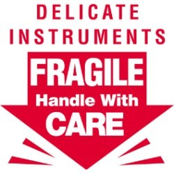 3'' x 3'' - ''Delicate Instruments - Fragile'' Labels - 500 per roll