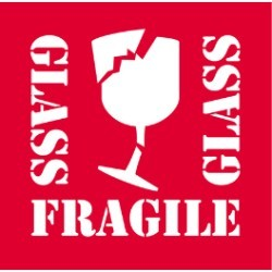 4'' x 4'' - ''Fragile - Glass'' Labels - 500 per roll