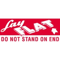 2'' x 5'' - ''Lay Flat - Do Not Stand On End'' Labels - 500 per roll