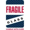 4'' x 6'' - ''Fragile - Glass - Handle With Care'' Labels - 500 per roll
