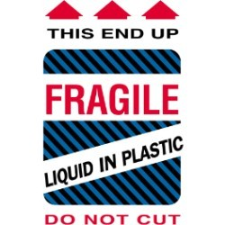 4'' x 6'' - ''Fragile - Liquid in Plastic'' Labels - 500 per roll